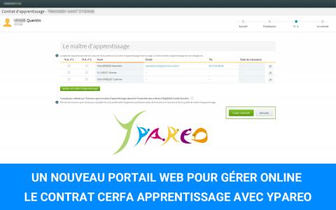 Portail web gestion contrat CERFA apprentissage pour CFA et Entreprise avec ERP YPAREO